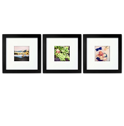 3-set, Tiny Mighty Frames - Wood, Square, Instagram, Photo Frame, 4x4 (Mat), 8x8 (3, Black)