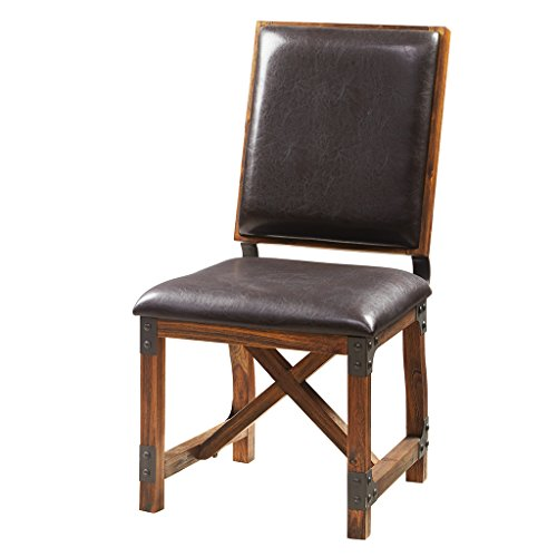 Ink+Ivy Lancaster Dining Chairs - Solid Wood, Metal Kitchen Stool with Back Rest - Amber Wood, PU Cover Industrial Style Stools - 1 PC Dinner Furniture