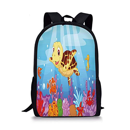School Bags Turtle,Funny Adorable Cartoon Style Underwater Sea Animals Baby Turtle and Fish Collection,Multicolor for Boys&Girls Mens Sport Daypack