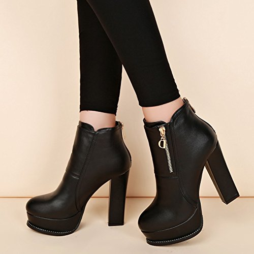 HGTYU-Retro Thick With Martin Autumn And Winter Wild Round Head Waterproof Taiwan Female High Heeled Boots Fall Short Boots Black Single. 36 zQwQnx9mO