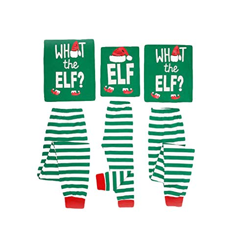 Junkai Pigiama natalizio Imposta abbinamenti per la famiglia Pigiameria Indumenti per la casa Vestito 2 pezzi Stampato per padre e madre Bambini - Verde