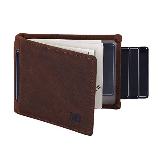 Win&Income RFID Blocking Slim Wallet with Money Clip,Genuine Leather Bifold Thin Minimalist Front Pocket Wallets for (Photo Pocket Purse)