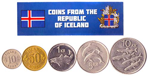 Hobby of Kings Different Coins - Old, Collectible Icelander Foreign Currency for Collecting Book - Unique, Commemorative World Money Sets - Gifts for Collectors - Collection of 5