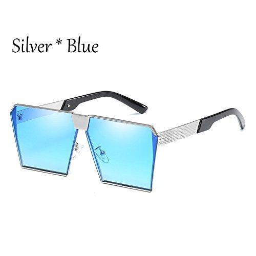 C13 Silver Vintage 17 Damas Sol Mujer Uv356 Tonos Silver De Gafas Enormes Silver Gafas TIANLIANG04 Estilos Sol De Unas C2 Cuadradas Blue G Hombre 707pBq16