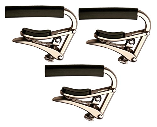 Shubb C1N Brushed Nickel Capo Steel String Guitar Capo 3-Pack by Shubb