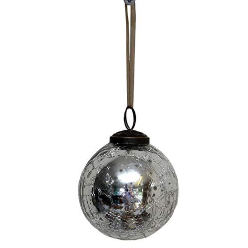 "Bollywood Christmas Glass Crackle Ball Christmas Bauble, Silver, 2"""