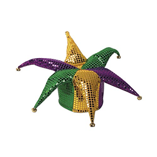 Club Pack of 12 Green, Gold and Purple Glitz 'N Gleam Jester Costume Party Hats by Party Central