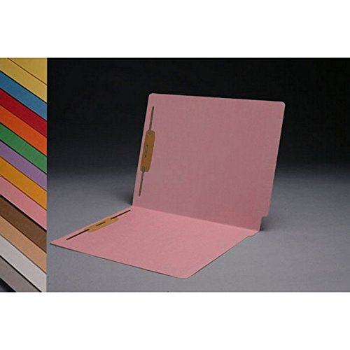 11pt Pink Folders, Full Cut 2-Ply END TAB, Letter Size, Fastener Pos #1 & #3 (Box of 50) Cut Two Ply End Tab