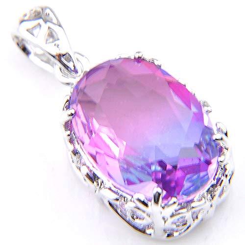 (Jewelryamintra Amazing Mystical Purple Tourmaline Gemstone Oval Shaped Silver Pendant Necklace)