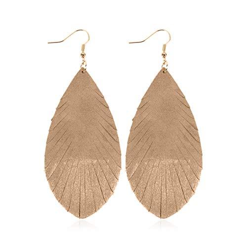 3 Teardrop Shape - Bohemian Genuine Suede Real Leather Drop Earrings - Lightweight Feather Shape Tassel Dangles Fringe Leaf, Angel Wing (Teardrop Feather Brushstroke - Light Brown/Silver, 3)