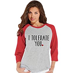 Custom Party Shop Women's I Tolerate You Funny Valentine's Day Raglan Shirt Large Red