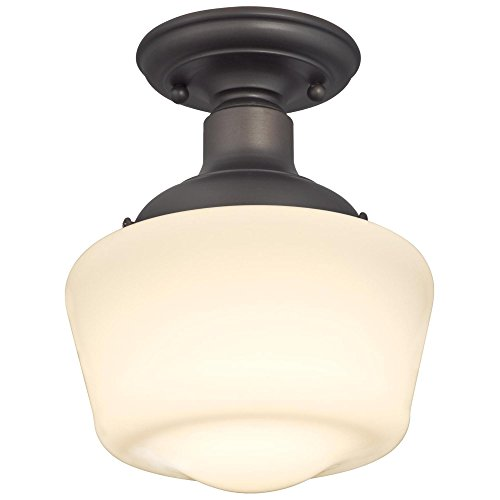 Westinghouse Lighting 6342200 Scholar One-Light Indoor Semi-Flush Ceiling Fixture, Oil Rubbed Bronze Finish with White Opal Glass, - Semi Fixture Flush Ceiling Bronze