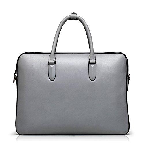 BVP Edle Modeherz Aktentasche&Laptoptasche Für Herren Damen Aus Rindleder Elegantes Grau
