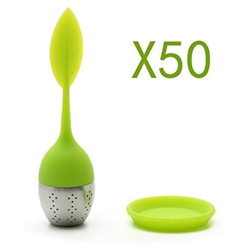 Set of 50 Whole Sale Tea Infuser Leaf Strainer Handle with Steel Ball Silicone eaf Lid (Reseda) By Xcellent Global