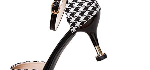 Block Spillo Donna Plaid Punte 34 Sandali Alto Color 38 A Tacco Estivi Moda Tacchi Nvxie Black Basse Baotou Con xwq1XgRPP
