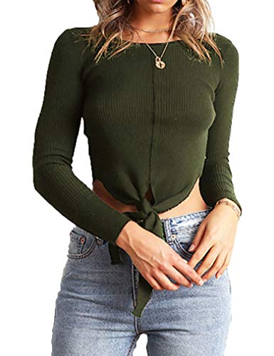 Crop Tops Knit Sweater Front Knot Shirt for Women Long Sleeve by Tobrief