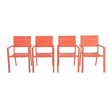 Metal Slat Stack Patio Chair Coral 4 Pack Threshold™