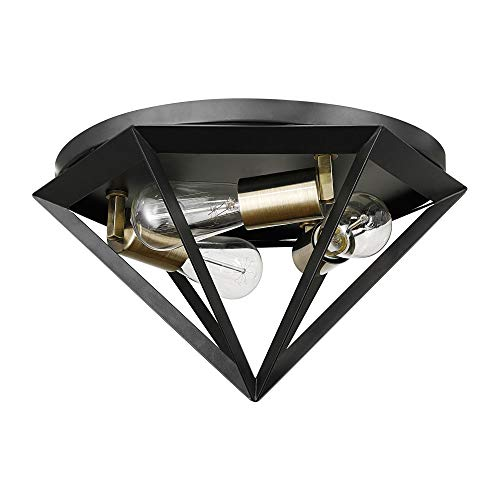 Globe Electric Merton 3-Light Semi-Flush Mount Ceiling Light, Dark Bronze, Brass Socket 60307