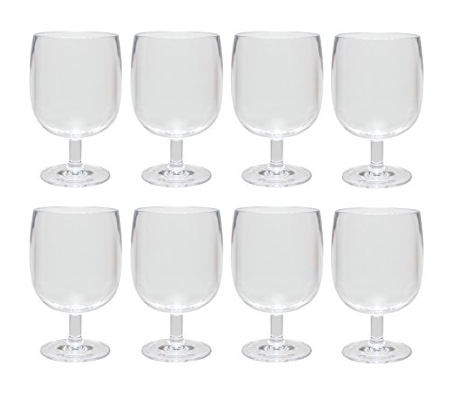(QG 12 oz Clear Acrylic Plastic Stackable Goblet Footed Tumbler Set of 8)