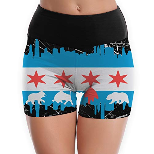 YJK79R Chicago Flag Skyline Bear Women's Sleep Pants Organic Yoga Pants Perfect for Exercise Running White