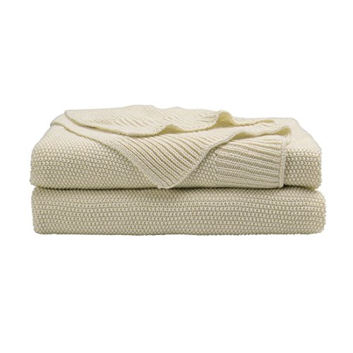 "PICCOCASA 100% Cotton Knit Throw Blanket,Solid Decorative Sofa Throws Soft Beige Knitted Throw Blankets for Sofa Couch,50"" x 60"""