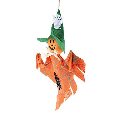 Prettyia Halloween Fabric Hanging Ghost Elf Pumpkin Wall Door Decor Hanger - Orange -
