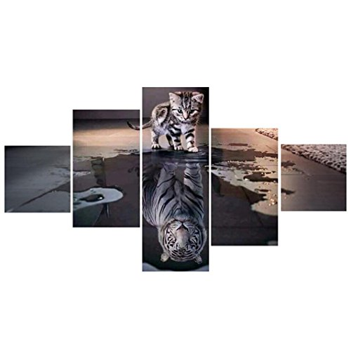 DIY 5D Diamond Painting by Number Kits, Square Crystal Rhinestone Diamond Embroidery Paintings Pictures Arts Craft Cross Stitch for Home Wall Decor Decorations, Full Drill - Cat and Tiger (5 Panels) by BuyEverything