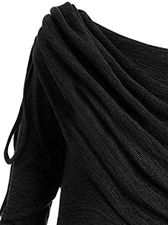 Toimothcn Womens Pullover Blouse Plus Size Long Sleeve Fold-Over Collar Ruched Long Tunic Tops
