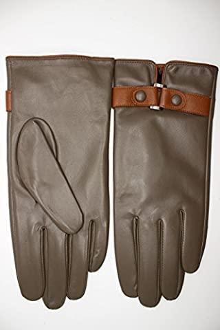 Womens Driving grey kaki sheepskin leather gloves with soft fur lining (Medium) - Fur Leather Gloves