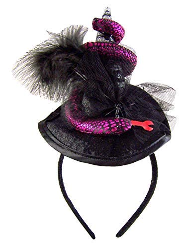 Needzo Voodoo Witches Hat with Feathers and Snake 4 1/2 Inches