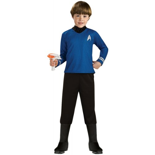 Star Trek Movie Child's Deluxe Blue Shirt Costume with Dickie, Pants with Attached Boot Tops and Emblem Pin, (Deluxe Spock Blue Shirt)