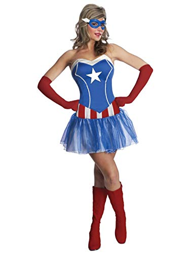 Secret Wishes Women's Marvel Universe American Dream Costume Tutu Dress and Mask, Multicolor, Medium]()