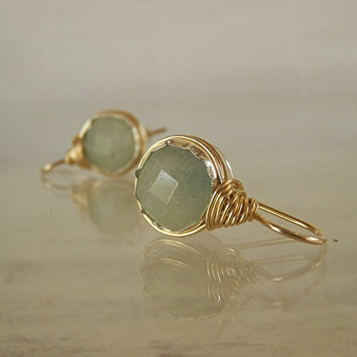 Handcrafted Round Wire Wrapped Earrings in Gold Filled with Aquamarine Gemstone by Yifat Bareket