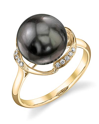 THE PEARL SOURCE 14K Gold 10-11mm Round Genuine Black Tahitian South Sea Cultured Pearl & Diamond Ruby Ring for Women