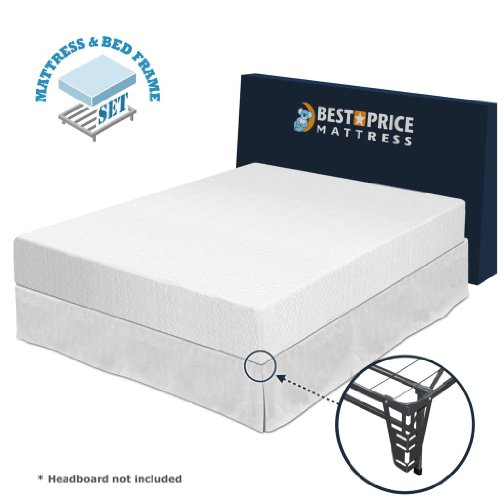 Best Price Mattress 10-Inch Memory Foam Mattress and Platform Metal Bed Frame Set, Queen by Best Price Mattress