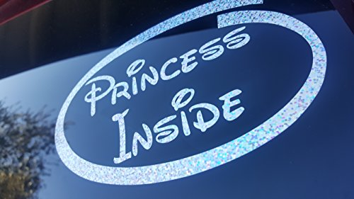 Princess Inside Car, Van or Truck Shimmer Holographic Silver Decal Sticker Disney Inspired New Baby On Board