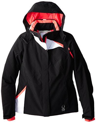 Spyder Women's Amp Jacket, Black/White/Bryte Pink, 8 -