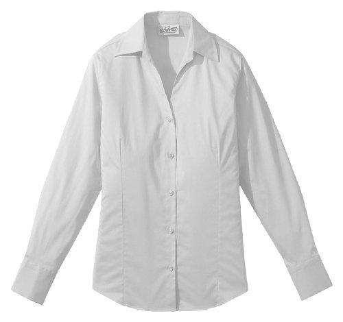 Edwards Women's Long Sleeve V-Neck Tailored Stretch Blouse, WHITE, Medium ()