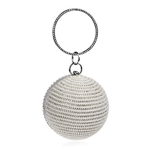 a con Color Silver rotonda donna da Borsa da con polso forma a borsa Silver da sera sfera di borsa frizione borsa diamanti wER8q
