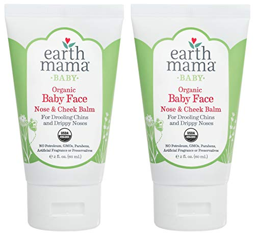 Baby Face Organic Nose & Cheek Balm for Dry Skin by Earth Mama | Safe Petroleum Jelly Alternative, 2-Fluid Ounce (2-Pack)