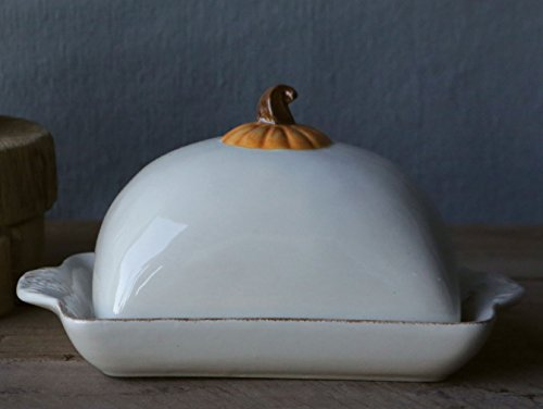 Ceramic Pumpkin Ivory Butter Dish