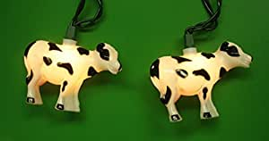 Set of 10 Farm and Country Cow Novelty Christmas Lights - Green Wire