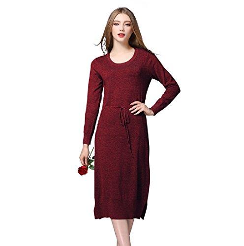 Maglia Smocked Spaccatura Slim Molla donne Rosso Primavera Lungo Vestito Vita Matita Fit Coolred Della Vino pXf5q