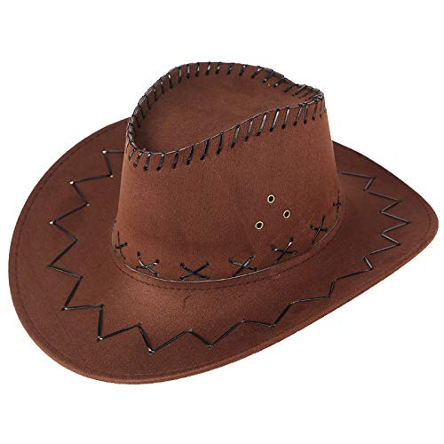 Men West Cowboy Hat Summer Outdoor Travel Mongolian Hat Grassland Visor Sunshade Cap Wide Brim Hat (Coffee)