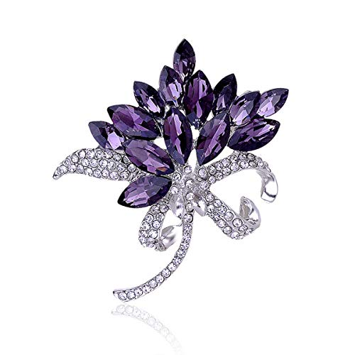 seven wolves Bauhinia Clear Rhinestone Crystal Flower Brooches Pins Wedding Bouquets Breastpin, Purple