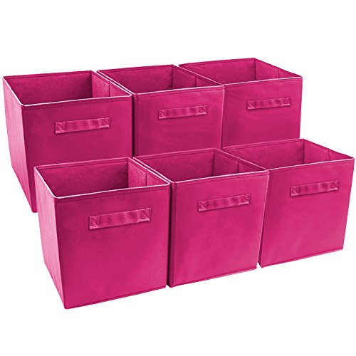 Sorbus Foldable Storage Cube Basket Bin (6 Pack, Pink)]()