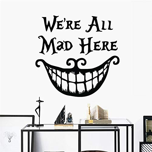Wall Sticker ZOZOSO Alice Decalques Halloween We are All Angry Here Vinyl Cheshire Cat Decoration Big Mouth Poster Living Room Mural
