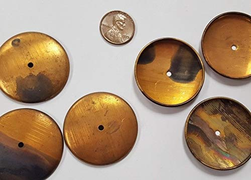 - 6 Vintage Aged Patina Brass Round 35mm. Setting Stamping FINDINGS