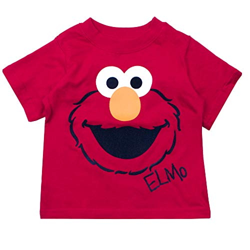 Sesame Street Short Sleeve T-Shirt Short Sleeve Tees - Elmo, Cookie Monster & Friends (Red, 24M) -