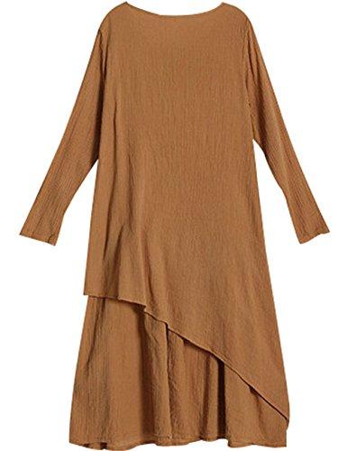 Youlee Mujer Cuello Redondo Manga Larga Algodón Vestir Fit EU 36-42 Naranja
